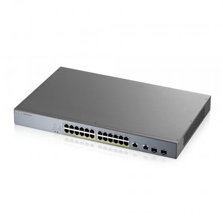 GS1350-26HP -Switch Vidéosurveillance Web-manageable 24 ports Gbps RJ45 PoE+2 ports Gbps combo RJ45/SFP – budget PoE 375 W